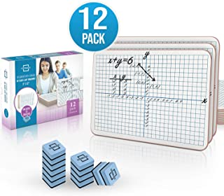 """12 Pack Dry Erase XY Axis Graph Lap Board 9""""X12"""" 
