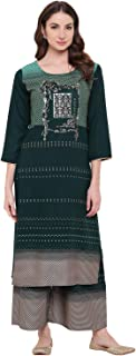 Bi Amma Women green Printed Straight Fit Kurta And Flared Printed Palazzo Set