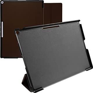 PhoneNatic Artificial Leather Case Compatible with Google Pixel C - Tri-Fold Brown Cover + Protective foils