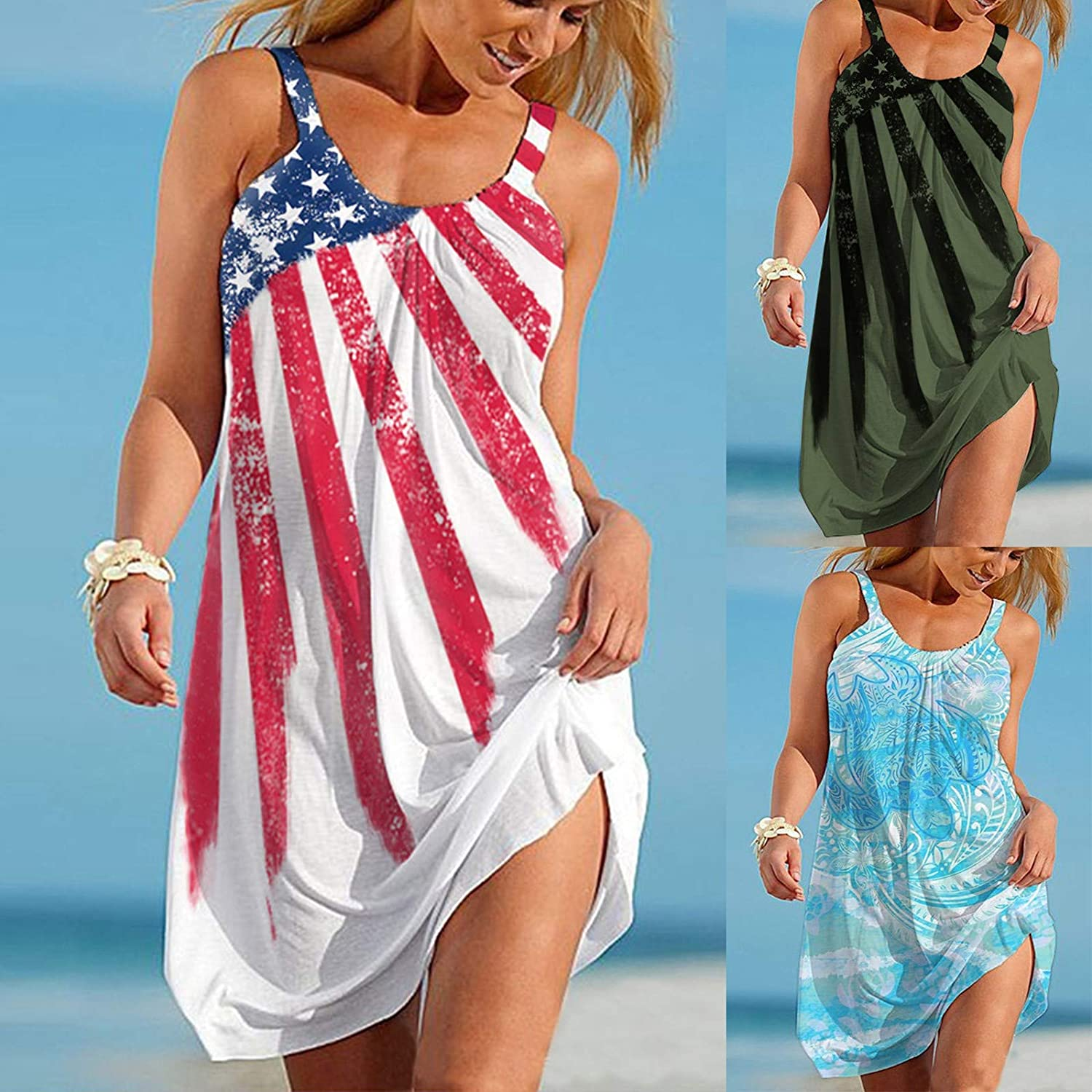 Summer Dresses for Women Beach,Women's Spaghetti Strap Pure Color Sleeveless Casual Swing Midi Sundress for Party