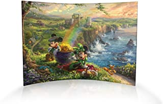 Disney Mickey Minnie Mouse – Thomas Kinkade Ireland Tourists Irish Rainbow Pot of Gold – 10 X 7 Curved Acrylic Photo Print – Free Standing Light Catching Photo Décor – for Gifting and Collecting