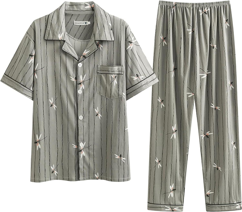 GTHTTT Men's Spring Autumn Button-Down Pajama Set Short Sleeve Woven Plain-Weave Sleepwear with Pockets Lounge Wear