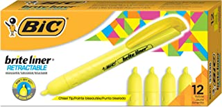 BIC Brite Liner Retractable Highlighter, Chisel Tip, Yellow, 12-Count