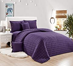 Compressed two-sided Comforter 6 Pieces Set, King Size,Purple
