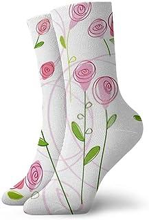 Almost-Okay-Shop, Calcetines de compresión para tobillo de media pantorrilla, diseño de rosa, para niño y niña