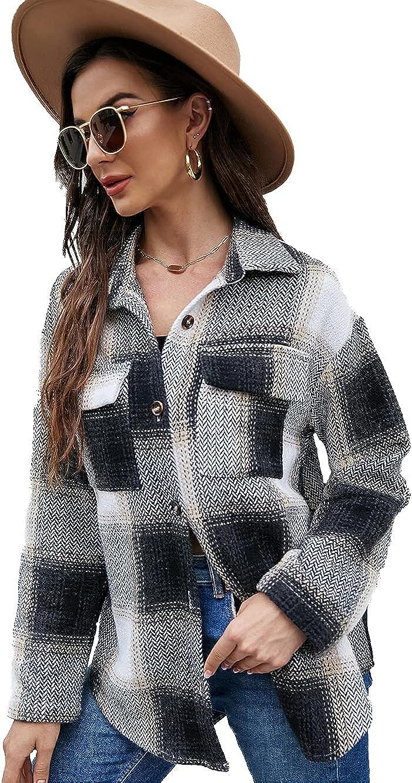 Jeatyuen Women's Plaid Print Long Sleeve Button Plaid Shirt Casual Jacket Work Office Cardigan Coat Overcoats
