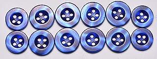 SFG Dress Shirt Buttons 12pc Set - 8 Shirt Front Buttons 13mm (1/2in) - 4 Shirt Sleeve Buttons 11.5mm (7/16in) Blue