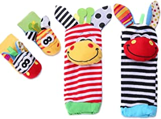 Gazelle Trading 4-Piece Adorable Animal Infant Baby Wrist Rattle & Foot Finder Socks Best Gift Developmental Toys Set