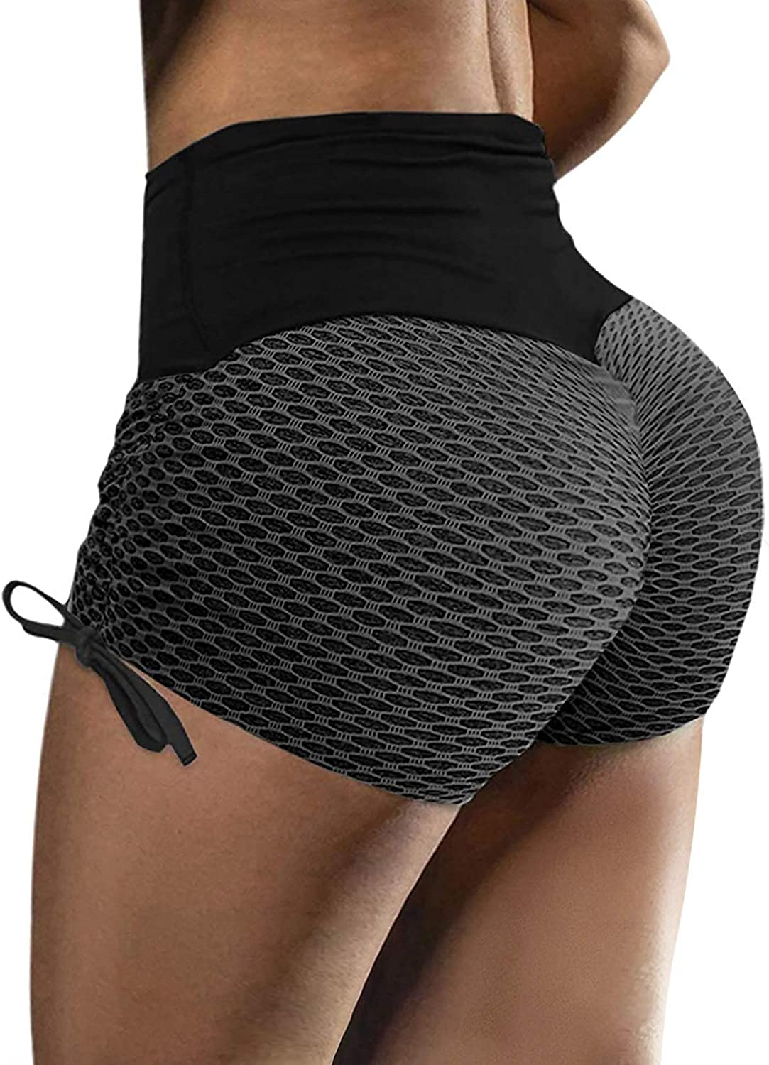 Sidefeel Super Special SALE held Women High Waist Butt Mesh At the price Shorts Drawstri Lifting Side