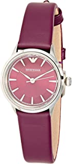 Emporio Armani Women's Purple Dial Leather Band Watch - AR1805