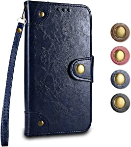 Huawei Lite 2017 Nova Lite Wallet Case GORASS Leather Flip Cover Full Body Protective Shockproof Case  Card Holder   Hand Strap  for Huawei Lite 2017 Nova Lite  Blue