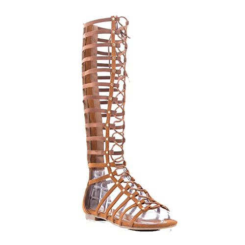 080aa1ab219 BAMBOO Candice 57M Flat Caged Gladiator Sandals