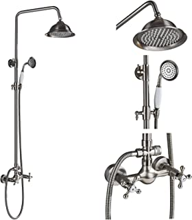 Rozin Bathroom Dual Knobs Mixer Rainfall Shower Set with Handheld Spray Brushed Nickel