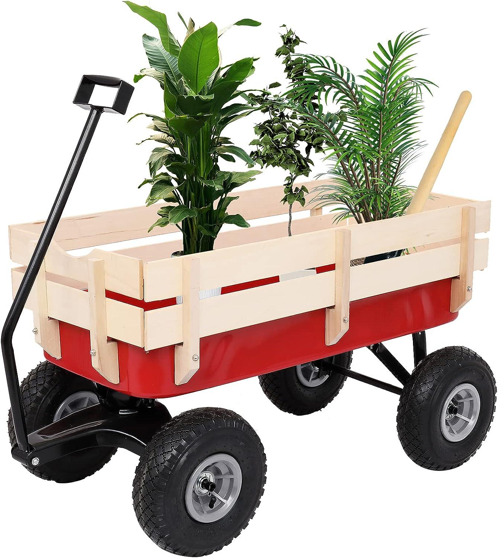 ZENGFU Garden Iron Wood Wagon Wheel Four 97x43x78cm Limited time cheap sale Spasm price