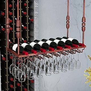 FCXBQ Casiers à vin en métal Suspendus Support de Verre à vin Plafond Support de Support de Verre à Pied étagère Murale po...