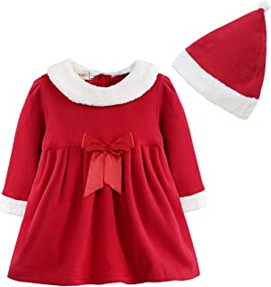QinCiao Toddlers Baby Girls 1st Christmas Santa Claus Costumes Velvet Bowknot Dress with Hat for Xmas Festive Party