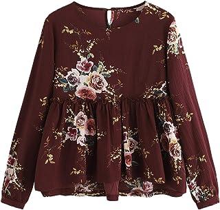 47b622f5d9 SheIn Women's Loose Long Sleeve Ruffle Hem Peplum Floral Blouse Top