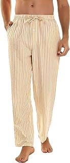 Irevial Pantaloni da Pigiama Uomo in Cotone,Pigiama a Righe con Tasche,Morbide Pantaloni Elasticizzati Uomo Vita Alta Legg...