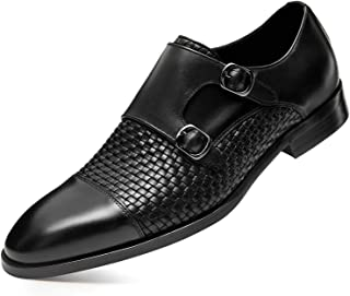 FRASOICUS Men 's Dress Shoes Genuine Leather Single Monk Strap Slip-On Shoes for Formal Occasions