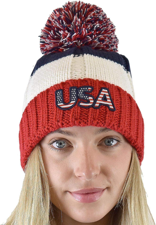 C.C. USA Patriotic American Pom Embroidered Cuff Beanie
