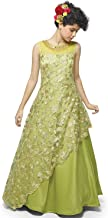 AMITHI'S DESIGNERS EXCLUSIVE Line Green Party Dress, Anarkali Long Frock, Bollywood Style for Girls