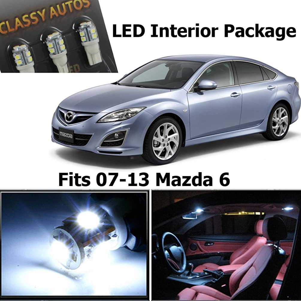 Classy Autos White LED Lights Interior Package Deal Mazda 6 (6 Pieces)