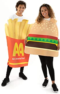 Burger & Fries Halloween Couple Costumes - Funny Unisex Food Suits for Adults