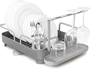 Umbra 1008163-149 Holster Dish Rack Molded Plastic Dish Drying Rack with Drainage Spout, Charcoal