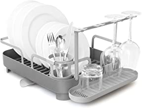 Umbra Holster Dish Rack– Molded Plastic Dish Drying Rack with Drainage Spout, Charcoal