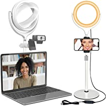 Desk Ring Lighting for Zoom Meeting- Selfie Photo Light for iPhone/Video Calls/Video Conferencing/Webcam Lighting, Round L...