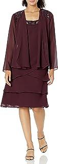 اس.ال فستان نسائي من Fashion مزين بطبقات من الترتر (صغير ومنتظم)
