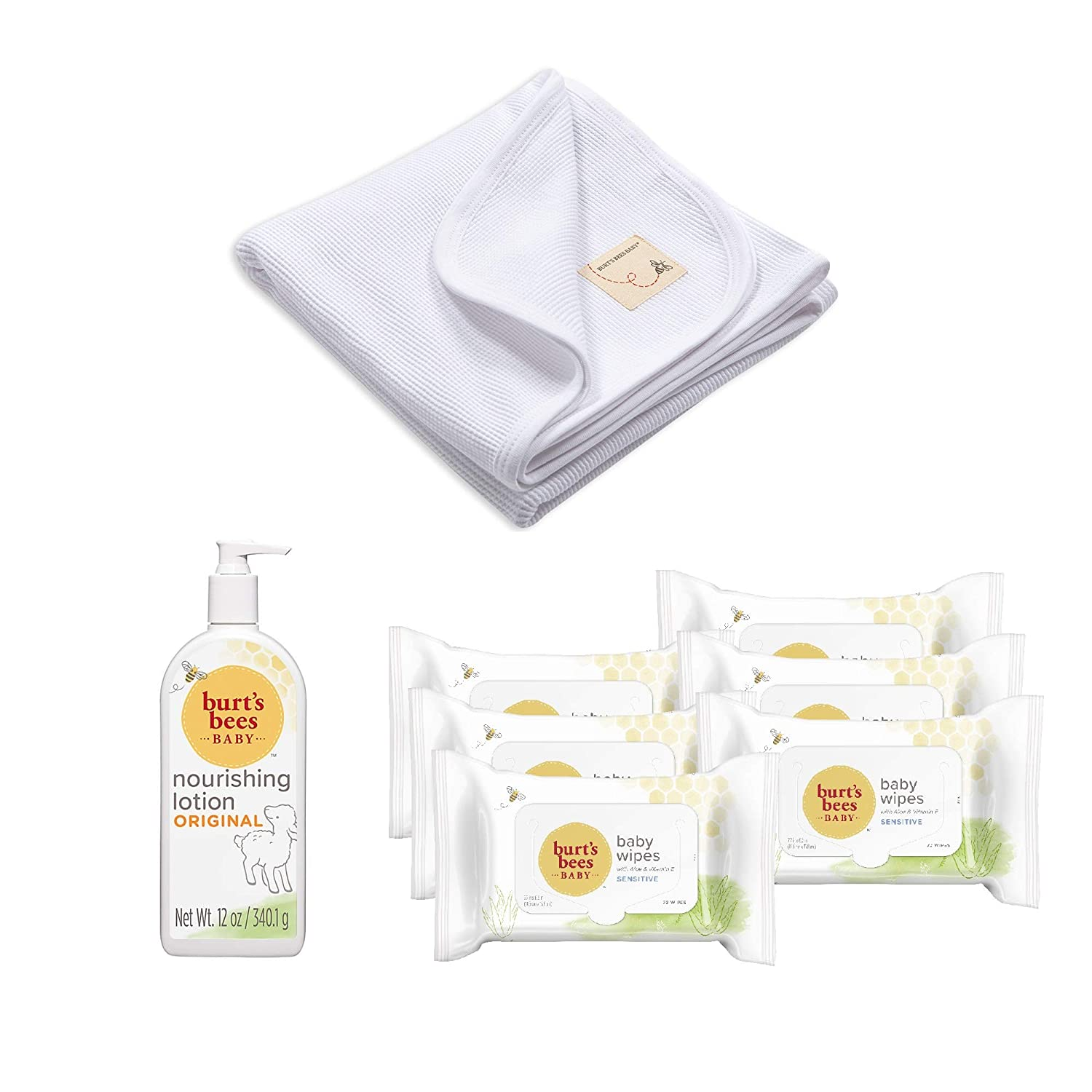 Burt's Bees Baby - Take Me Home Bundle, Includes Baby Wipes, Lotion and Thermal Receiving Blanket