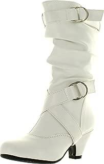 Link Little Girl's Pauline-38 Kitten Heel Boots with Decorative Buckles