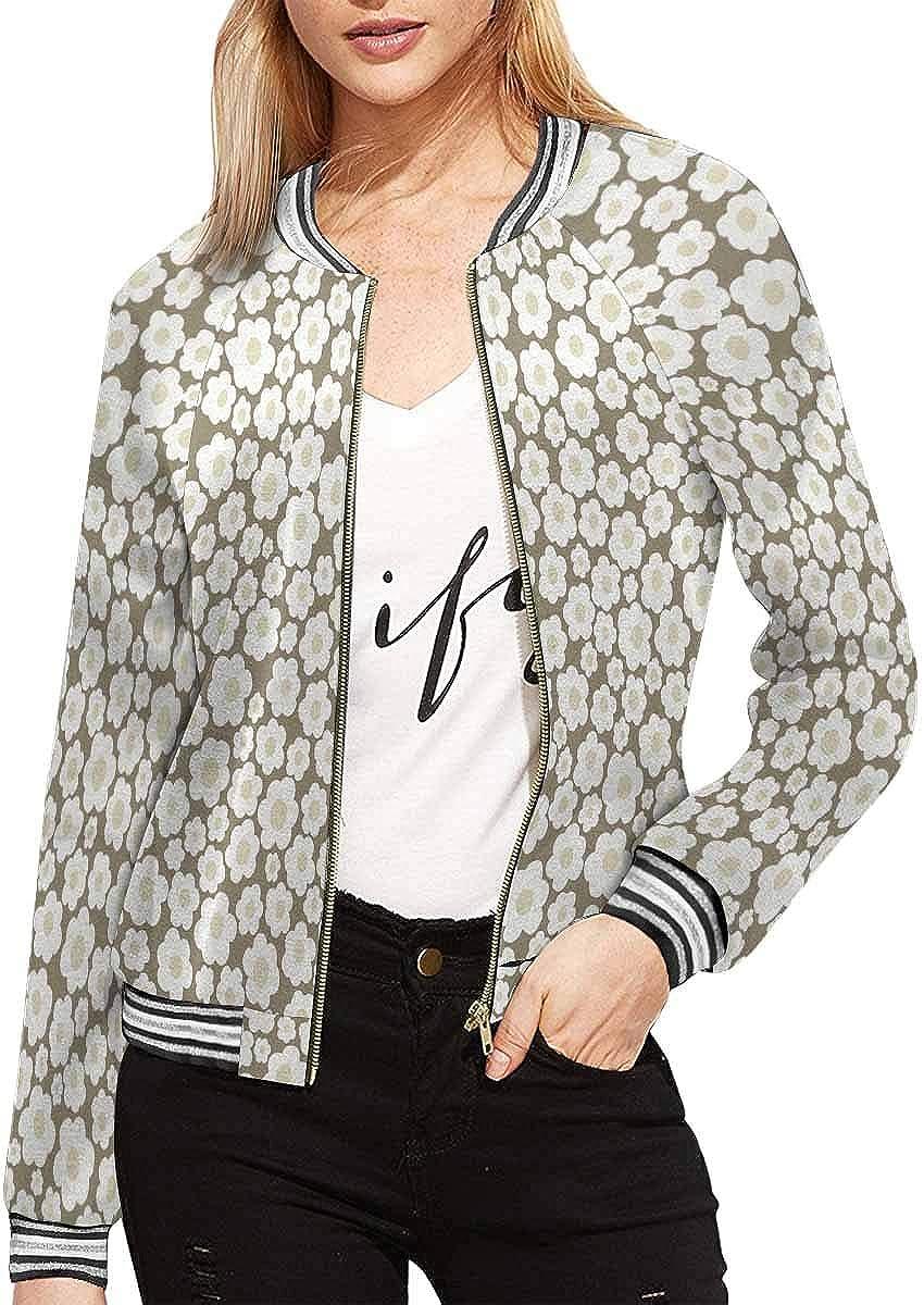 InterestPrint Women's Baseball Stand Collar Long Sleeve Jacket