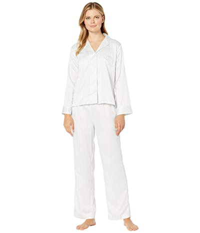 LAUREN Ralph Lauren Satin Long Sleeve Notch Collar Ankle Pants PJ Set (Grey Stripe) Women