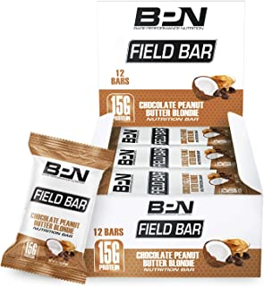 Bare Performance Nutrition, Field Bar, High Protein Bar, Nutrition Bar, Made with Whole Ingredients, Naturally Sweetened, Peanut Butter, Contains Coconut (12 Bars, Chocolate Peanut Butter Blondie)