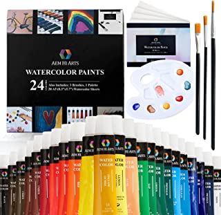 AEM Watercolor Paint Set - Washable Water Color Painting for Kids, Beginners, Art Students, Adults - Art Supplies Kit 24 W...