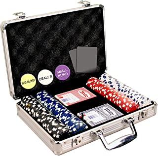 DA VINCI 200 Dice Striped 11.5 Gram Poker Chip Set with Aluminum Case, Dealer Button, 2..