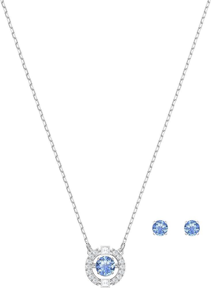 Swarovski set sparkling dance round, azzurro, placcatura rodio 5480485
