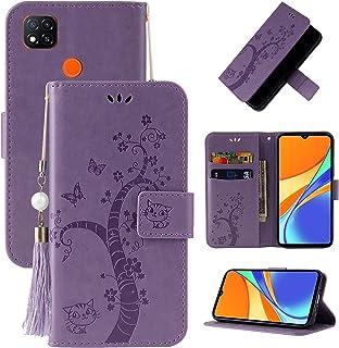 携帯電話保護ケース for Xiaomi Redmi 9Cエンボスドラッキーツリー水平フリップレザーケースホルダー&カードスロット&財布&ストラップ 携帯電話シェル