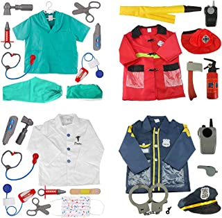 TOPTIE 4 Sets Kids' Role Play Costume Doctor Surgeon Police Officer Fire Chief White
