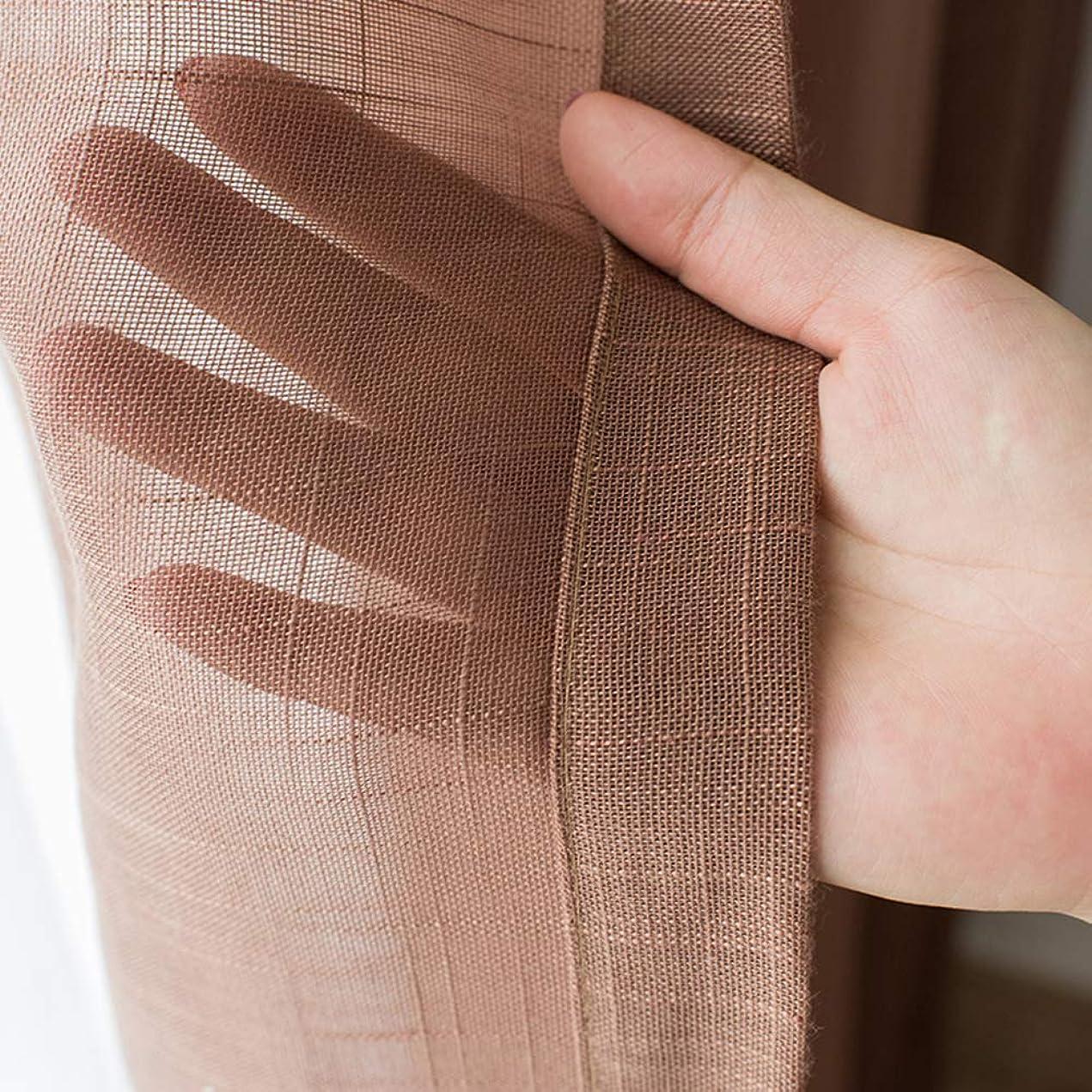 ペルメル画面の量シアーコットンヤーンカーテンパネルチュールカーテン,リビングルームキッチンバルコニー窓糸のためのセミボイルドレープ -ブラウン