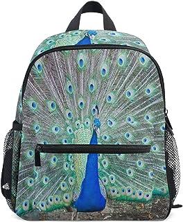 """Mochila escolar de cabeza de pavo real colorida para niñas y niños, Suave, as picture 2, 10"""" x 6"""" x 12"""""""