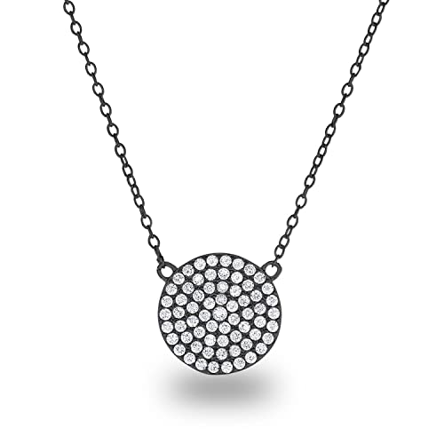 32d619f16 Spoil Cupid 925 Sterling Silver Cubic Zirconia Pave Disc Round Circle Chain  Necklace 18