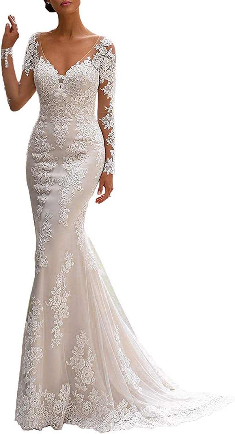 BeautBoy Women's Long Sleeves Mermaid Wedding Dress Lace Appliques V Neck Bridal Gown Plus Size W09 Ivory 22W
