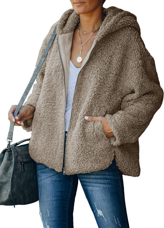 SENSERISE Womens Oversized Sherpa Jacket Fuzzy Fleece Full Zip Up Teddy Coat with Pockets