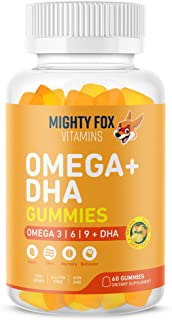 Vegan Omega 3 6 9 + DHA Gummies for Kids - with Vitamin C for Heart Health, Cognitive Development, Behavior and Vision - D...