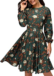 Women's Floral Vintage Cocktail Swing Dress Ruffle Sleeve