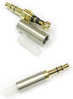 KetDirect 2Pcs Gold 3 Pole 3.5mm Male Repair headphone Jack Plug Metal Audio Soldering headset connector silver