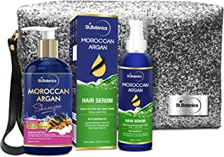 StBotanica Moroccan Argan Combo | Shampoo (300ml) + Hair Serum (120ml) With Pouch
